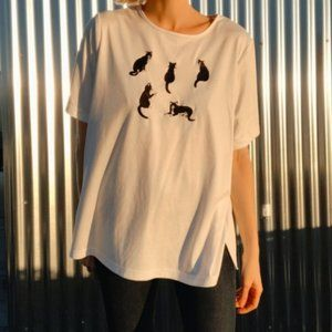 [Vintage] Embroidered Cats Knit T-Shirt